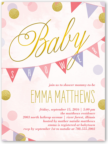 Showering Dots Girl Baby Shower Invitation, Square