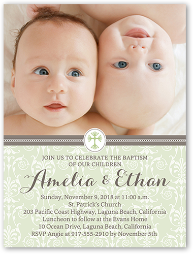 Faithful damask twin 4x5 invitation baptism invitations shutterfly faithful damask twin baptism invitation stopboris