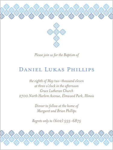 Filigree Cross Blue 4x5 Invitation Card Baptism Invitations