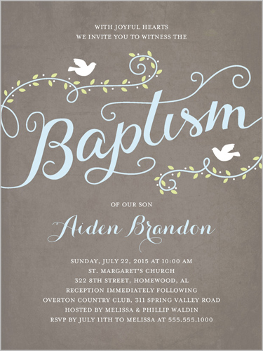 Faithful Flight Boy 4x5 Invitation Baptism Invitations Shutterfly