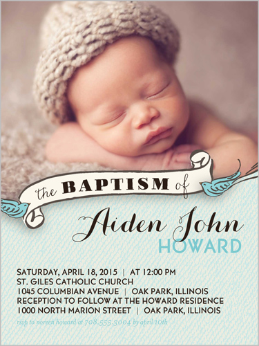 Birdie Baptism Boy 4x5 Invitation Baptism Invitations Shutterfly