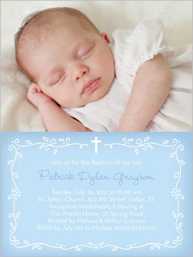 Precious Vine Boy 4x5 Baptism Invitations