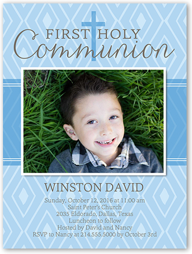 Patterned Communion Boy Communion Invitation, Square