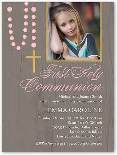 Lovely Rosary Girl Communion Invitation, Square