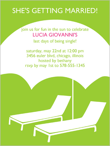 Party Cabana Green Bachelorette Party Invitation, Square