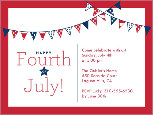 star stripe banners 4x5 invitation card party invitations