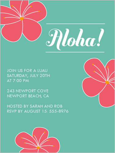 Aloha Flowers Summer Invitation