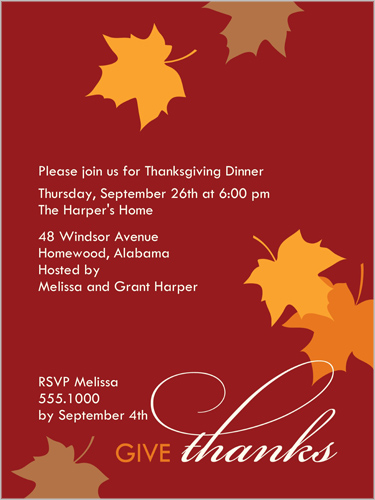 Changing Leaves Fall Invitation