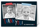taped thanks boy thank you card 3x5 folded
