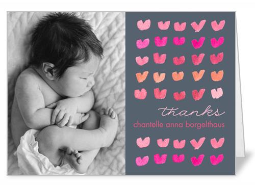 Watercolor Hearts Girl Thank You Card