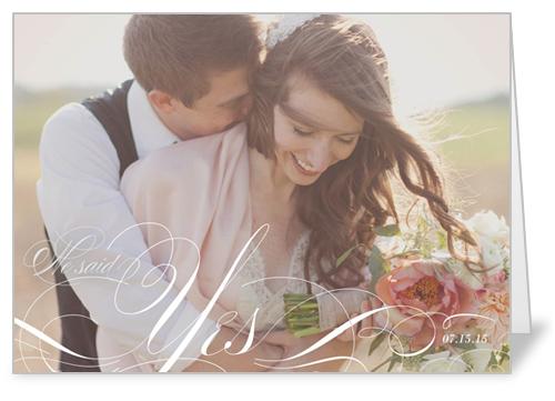 Swirly Yes Wedding Announcement