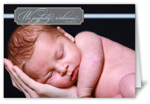 Welcome Billet Blue Birth Announcement, Square Corners
