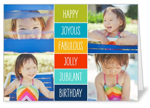 Happy Joyous Fabulous Birthday Card, Rounded Corners