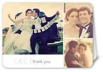 bridal trio white thank you card