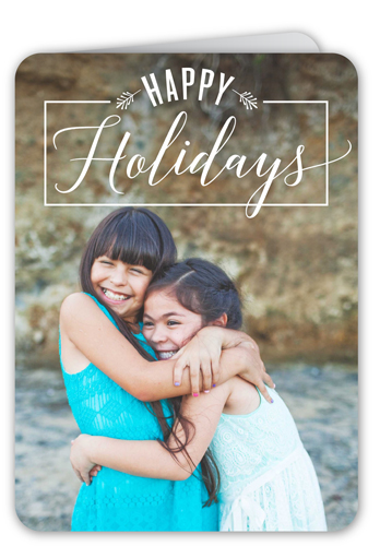 Happiest Script Banner Holiday Card, Rounded Corners