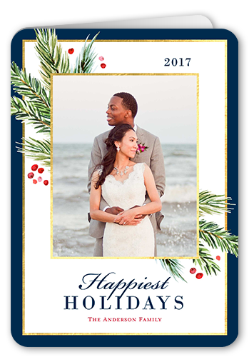 Corner Foliage Sentiment Holiday Card, Rounded Corners