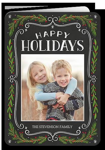 Chalk Swirled Frame Holiday Card, Rounded Corners