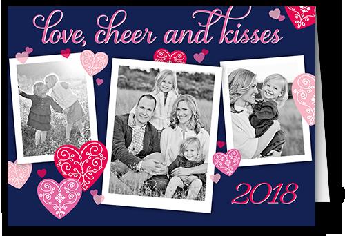 Flourishing Hearts Valentine's Card, Square Corners