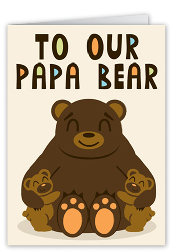 Papa Bear Father's Day Card, Square Corners