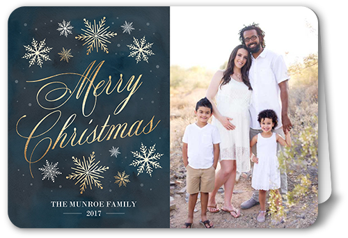 Rustic Frosted Flurries Christmas Card, Rounded Corners