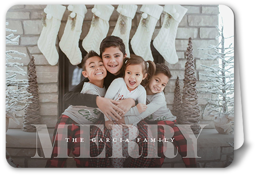 Merry Overlay Greeting Christmas Card, Rounded Corners