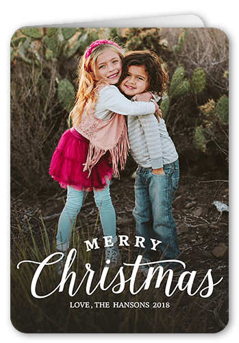 Simple Family Greeting Christmas Card, Rounded Corners