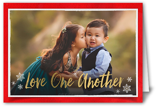 Love One Another Christmas Card, Square Corners