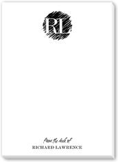 scribbled initials 5x7 notepad