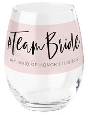 team bride printed wine glass