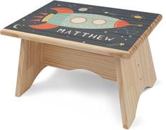 moon and stars spaceship step stool