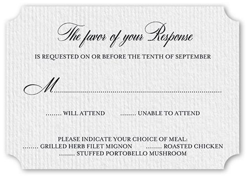 Graceful Harmony Wedding Response Card, Ticket Corners