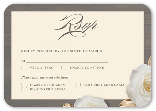 Flowering Fondness Wedding Response Card, Rounded Corners