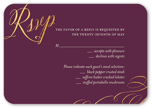 Patient And Kind Wedding Response Card