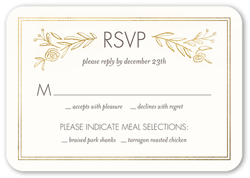 Online Wedding Invitations And Rsvp: Gilded Perfection Wedding Response Card