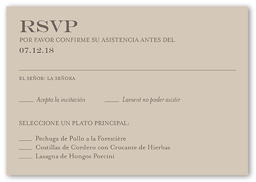 Wedding Invitation In Spanish Wording: Adorable Borde De Puntillas Wedding Response Card