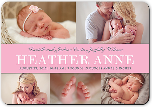 Simple Banner Girl Birth Announcement, Rounded Corners