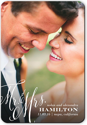 Forever Mr and Mrs Wedding Announcement, Rounded Corners