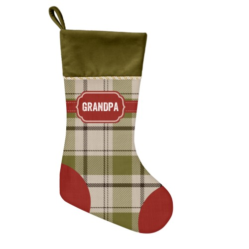 Classic Badge Name Christmas Stocking, Moss Green, Multicolor