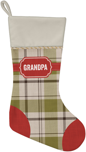 Classic Badge Name Christmas Stocking, Natural, Multicolor