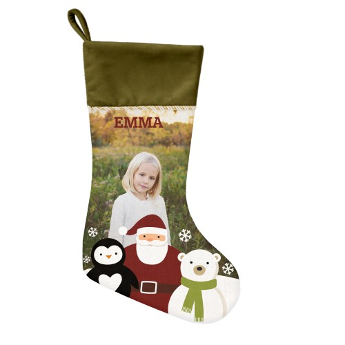 Santa and Friends Christmas Stocking, Moss Green, Beige