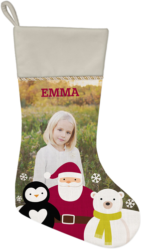 Santa and Friends Christmas Stocking, Natural, Beige