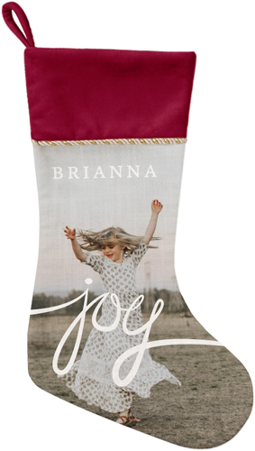 Spreading Joy Christmas Stocking, Cranberry, White