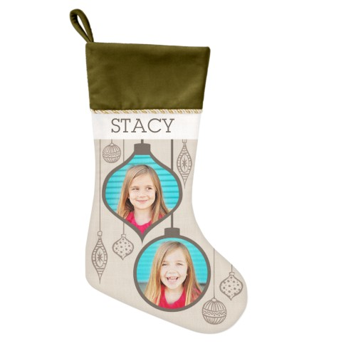 Stylish Ornaments Christmas Stocking, Moss Green, Beige