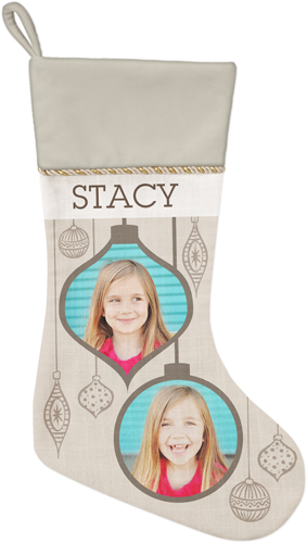 Stylish Ornaments Christmas Stocking, Natural, Beige