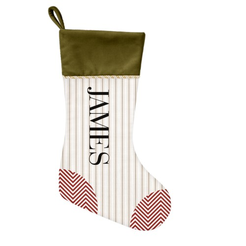 Stripes and Chevrons Christmas Stocking, Moss Green, Beige