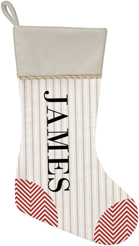 Stripes and Chevrons Christmas Stocking, Natural, Beige