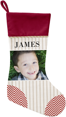 Photo Stripes and Chevrons Christmas Stocking, Cranberry, Beige