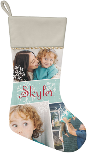 Snowflake Collage Christmas Stocking, Natural, Blue