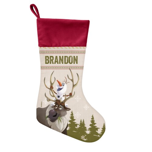 Disney Frozen Sven And Olaf Christmas Stocking, Cranberry, Green