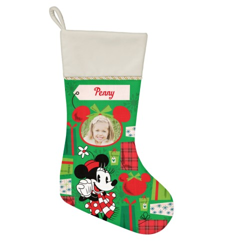 Disney Minnie Mouse Gifts Christmas Stocking, Natural, Green
